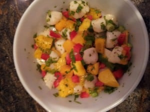 scallops with mango and orange