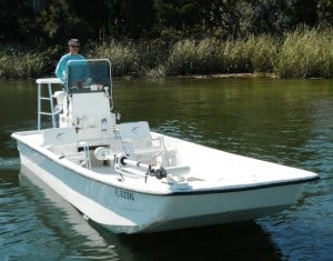 Captain Z's 24' Carolina Skiff comfortably fishes 4 anglers with it's open hull desgin